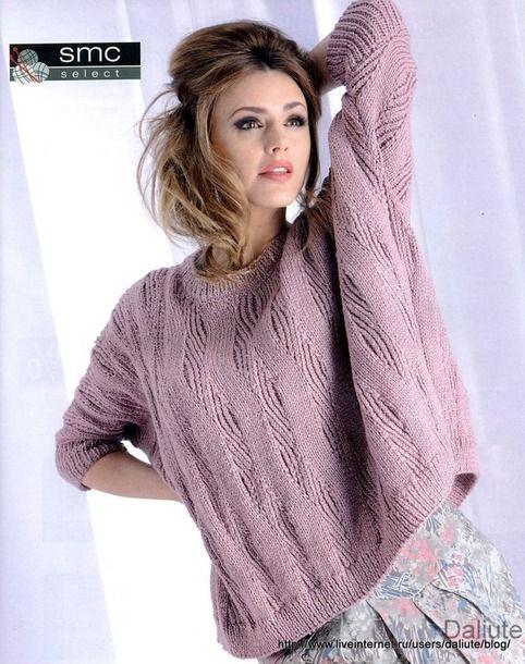 джемпер в стиле Oversize спицами вязание вязание свитер и