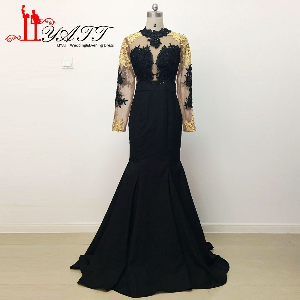 Click to buy ucuc hot sale gold lace evening prom dresses black