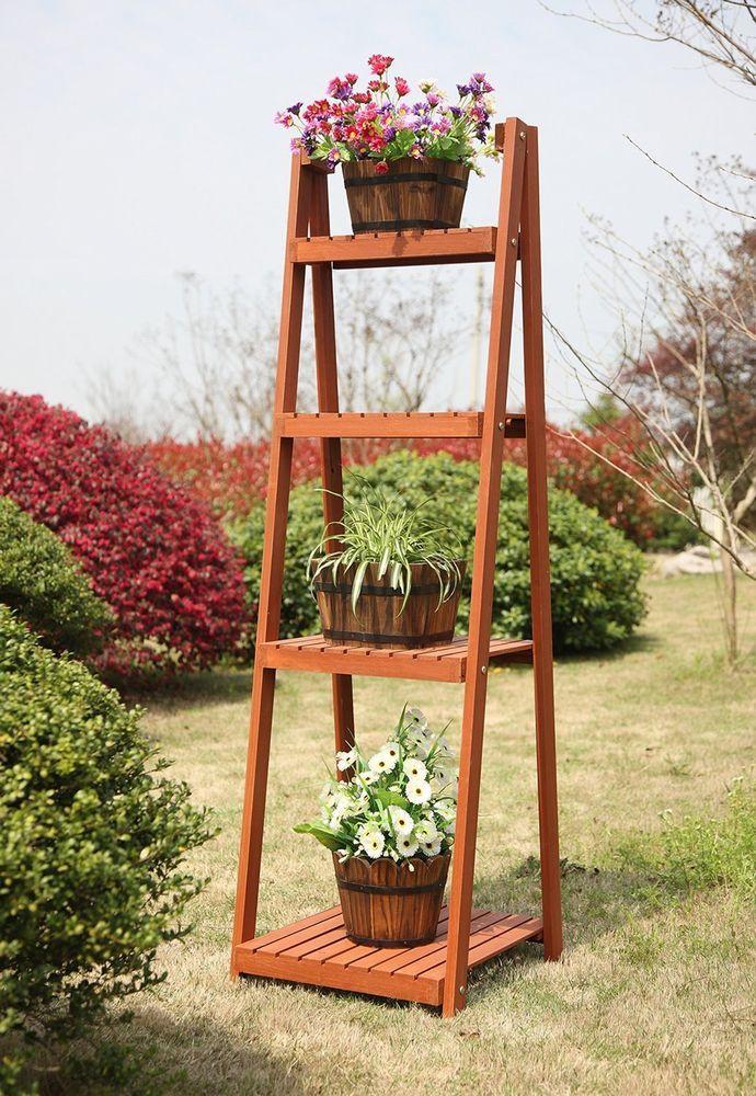Garden Plant Stand 4 Tier Tall Shelf Rack Flower Pot