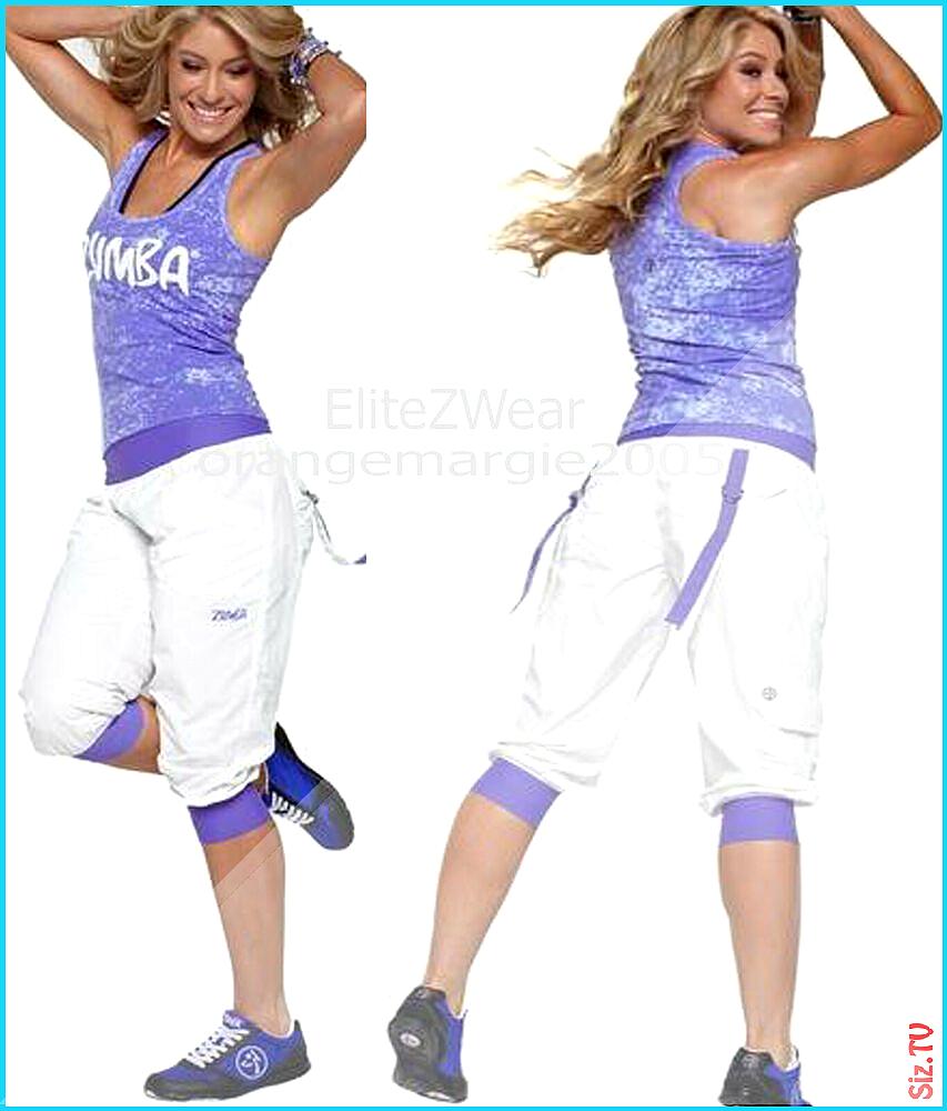 ZUMBA 2 Piece Set CARGO CAPRI PANTS  RACERBACK Tank Top Tee DANCE FITNESS XL ZUMBAZUMBAFITNESS TopTa...