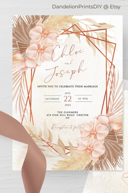 Lara Bohemian Rose Gold Pampas Grass Wedding Invitation Set Rsvp Card Reception Card Calligraphy Instant Download Editable Template Boho In 2021 Etsy Wedding Invitations Wedding Invitations Wedding Invitation Sets