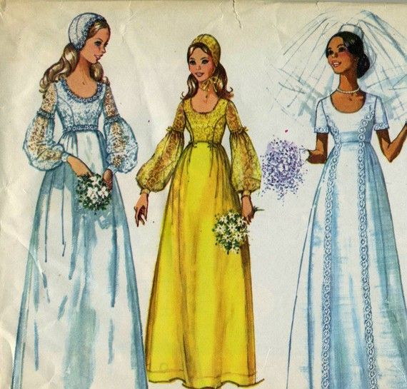 CLOSING SALE 1970s Fantasy Wedding Dress Pattern by CoconutPie