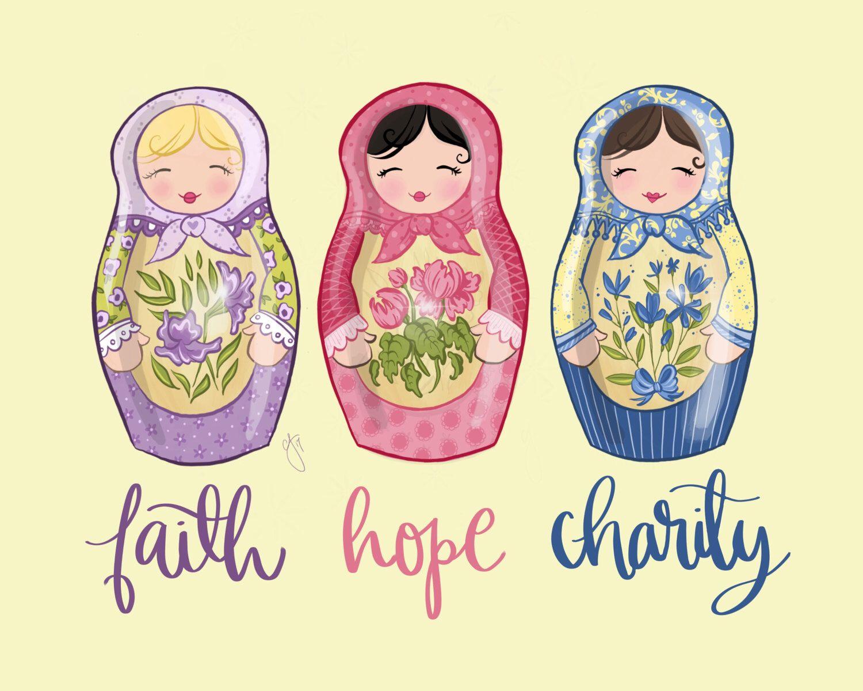 Faith, Hope, Charity - Art Print, Printable, Babushka Dolls, Russian ...