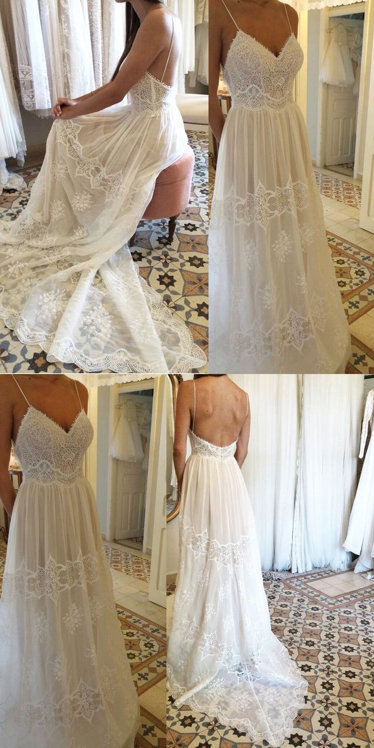 Spaghetti straps wedding dressesbackless wedding dresseslace