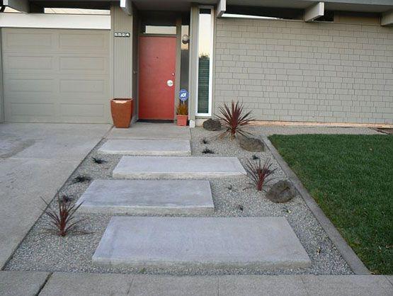 mid century modern landscape  concrete and pebbles. mid century modern landscape  concrete and pebbles   MID CENTURY