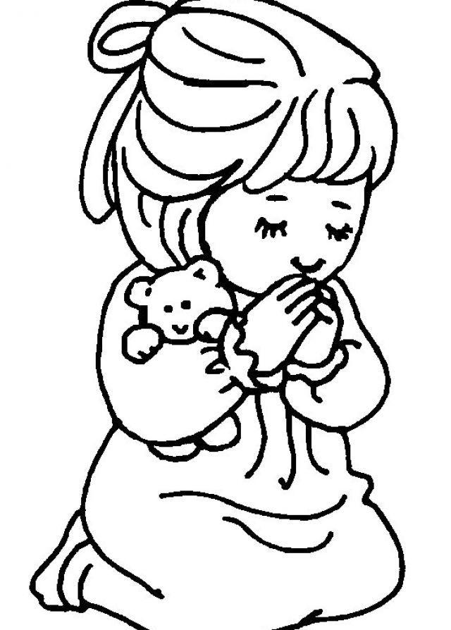 free coloring page for praying little girl Little girl praying