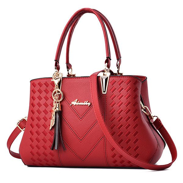 Womens Handbag Tote Shoulder Purse Leather Double Layer