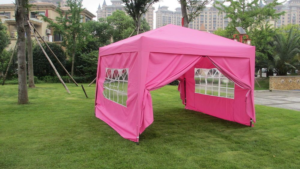 10x10 Ez Pop Up 4 Walls Canopy Party Tent Gazebo With Sides Pink 6051 In Home Garden Ebay Pop Up Canopy Tent Party Tent Tent