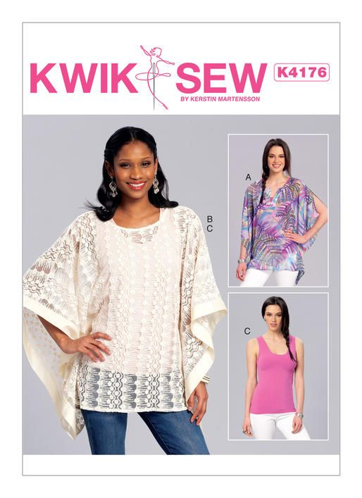 Kwik Sew easy sewing pattern. K4176 Misses\' Notch-Neck or Banded ...