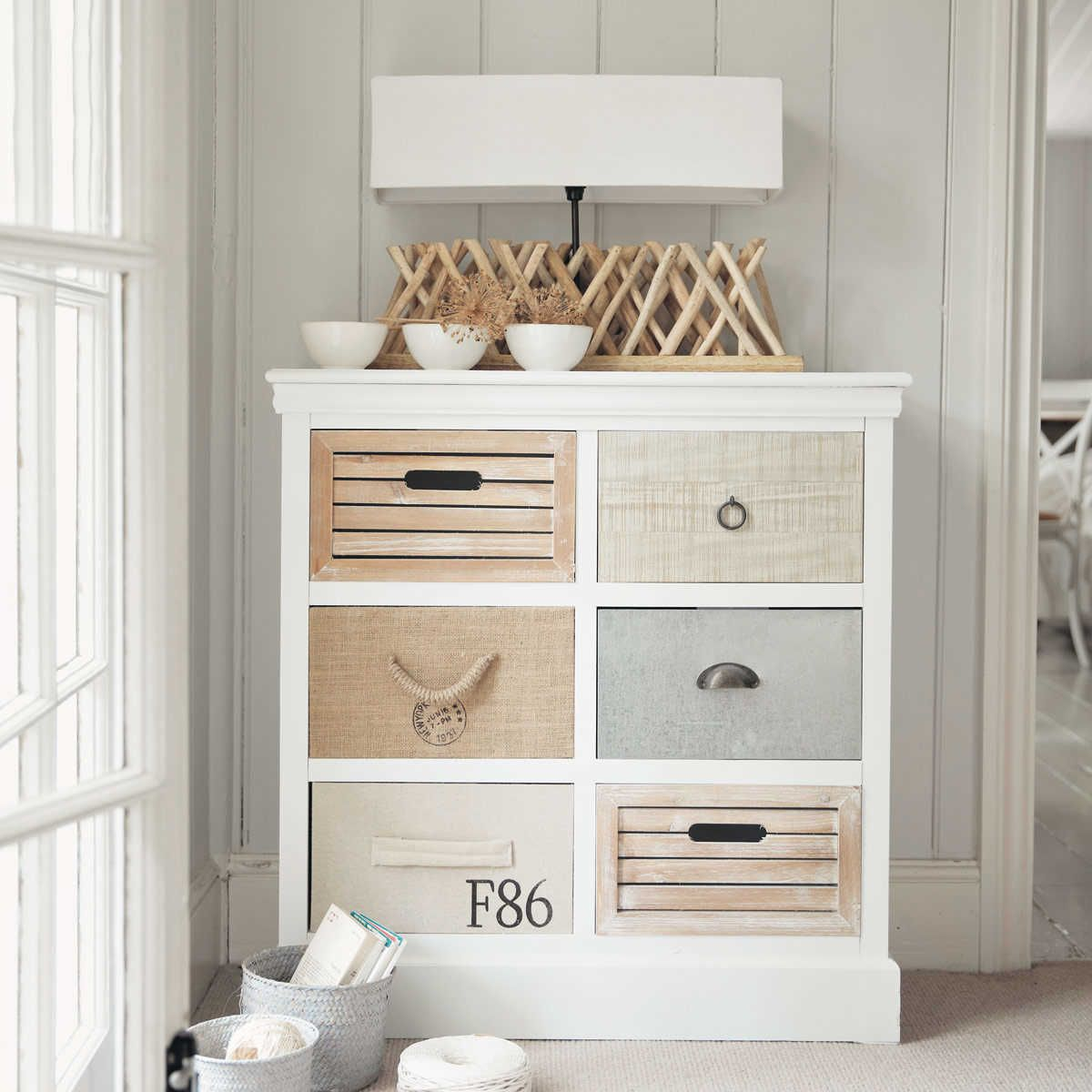 cabinet de rangement 6 tiroirs blanc week end a la mer. Black Bedroom Furniture Sets. Home Design Ideas