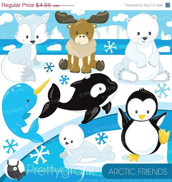 80 Off Sale Arctic Animal Clipart By Prettygrafikdesign On Etsy Arctic Animals Animal Clipart Polar Animals