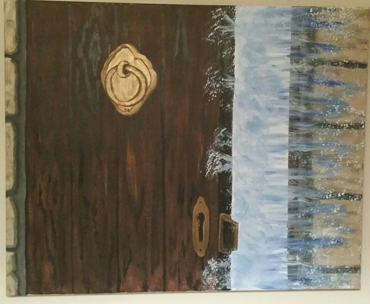 Breakthrough Acrylic Abstract Door Knocker Door Knocker Water Wood Wood Door Brown Copper Blue Painting Art Wall Art Art Abstract Prophetic Art