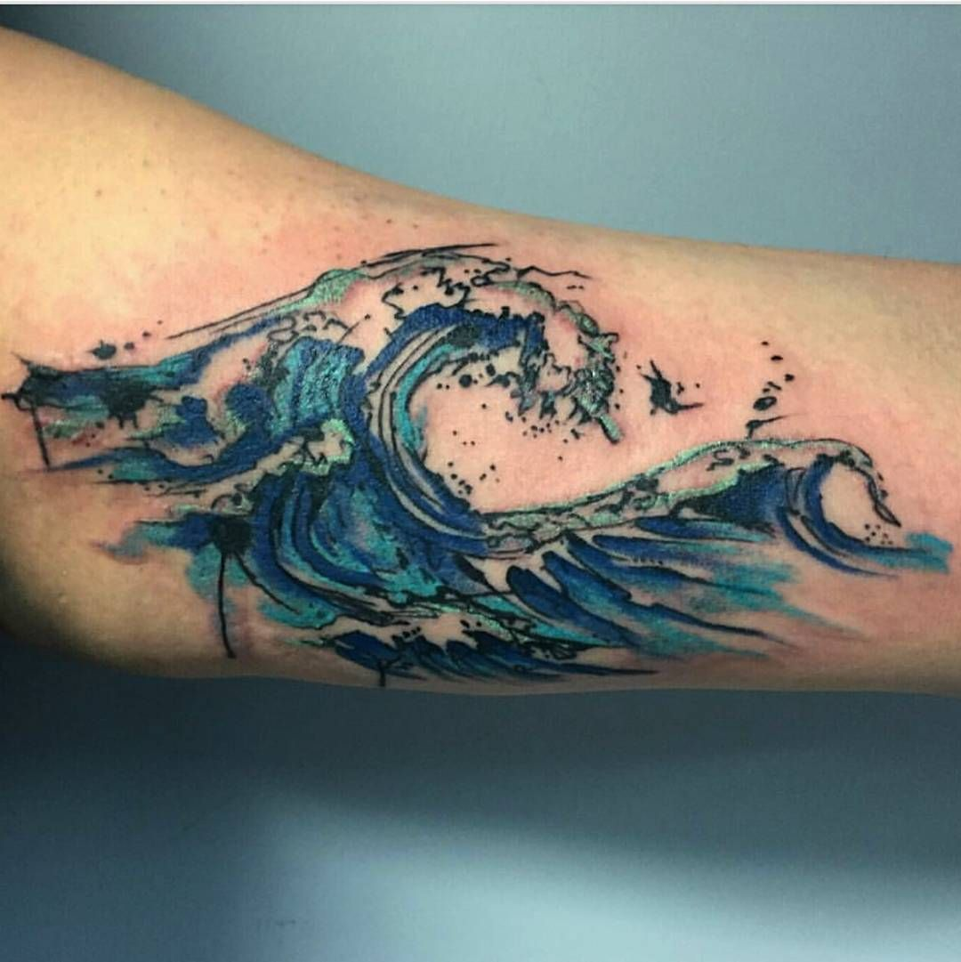 "Human Kanvas on Instagram: ""Hey y'all @tattoosbyjskelly back again! Check out this rad watercolor wave by @rogue.arts book your consultation today at…"""