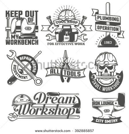 Stock Vector Set Of Vintage Logos To Repair Workshop Tool Shop Or Something The Text On A Woodworking Tools List Woodworking Tools Router Woodworking Workshop