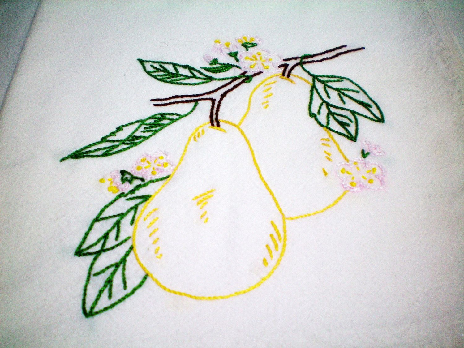Pears - Dish Towel - Hand Embroidery | I\'ll wash. You dry ...