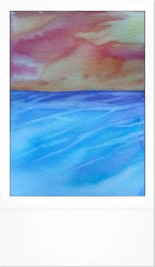 The Sea and a Sunset Watercolor Painted by Jenny Yandell