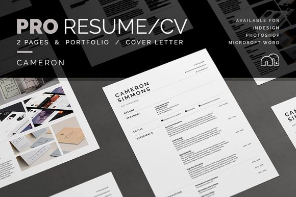 Pro Resume CV - Cameron by bilmaw creative on @creativemarket - portfolio cover letter