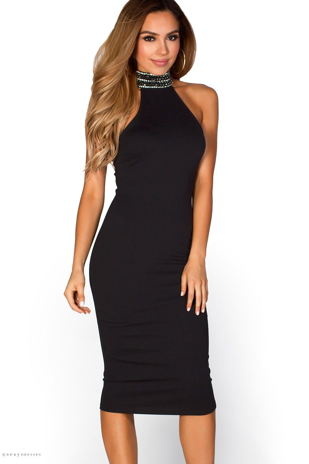 Kamryn Black Jeweled Collar High Neck Halter Cocktail Midi Dress