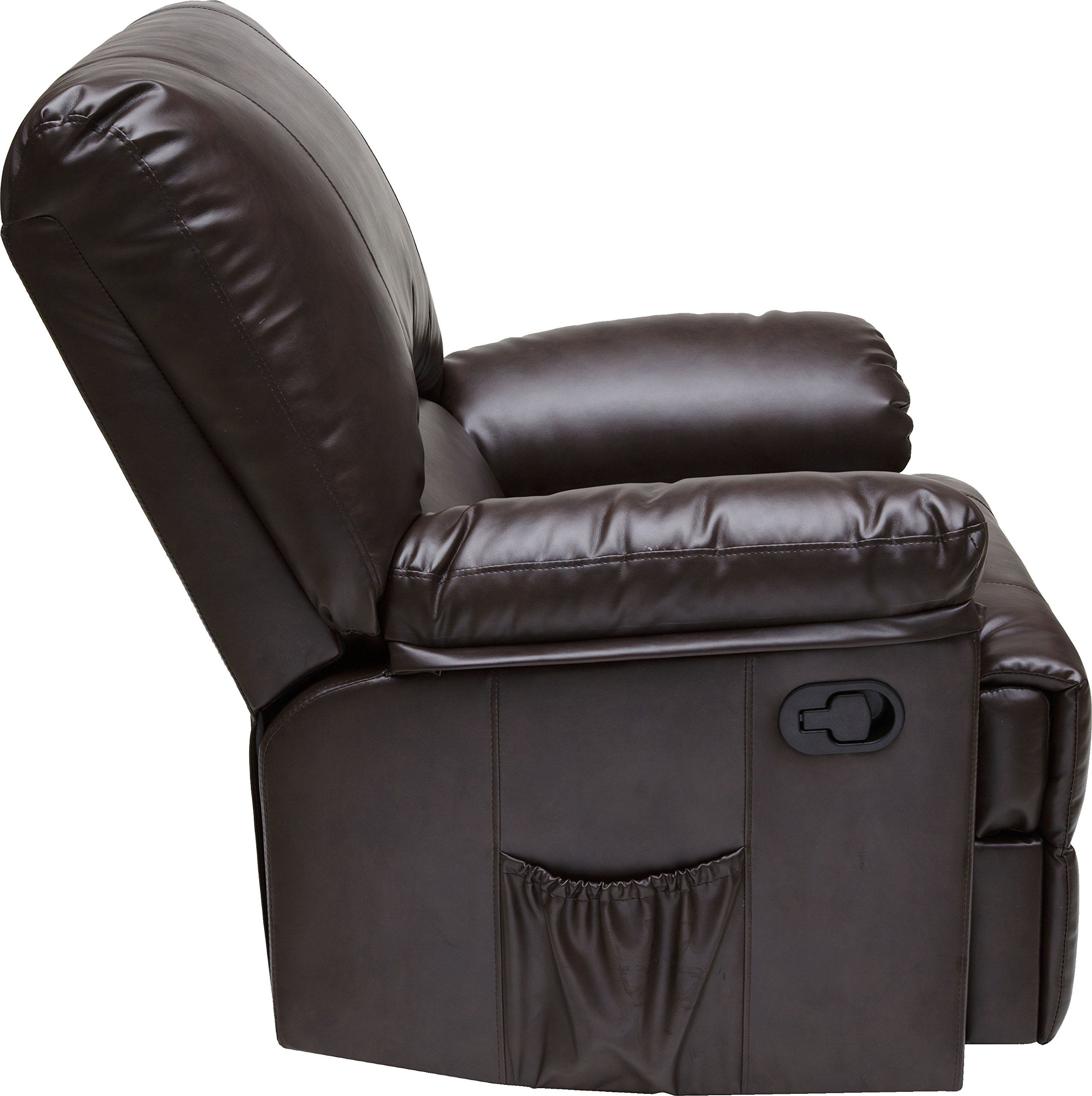 Relaxzen Rocker Recliner With Heat And Massage Brown Marbled