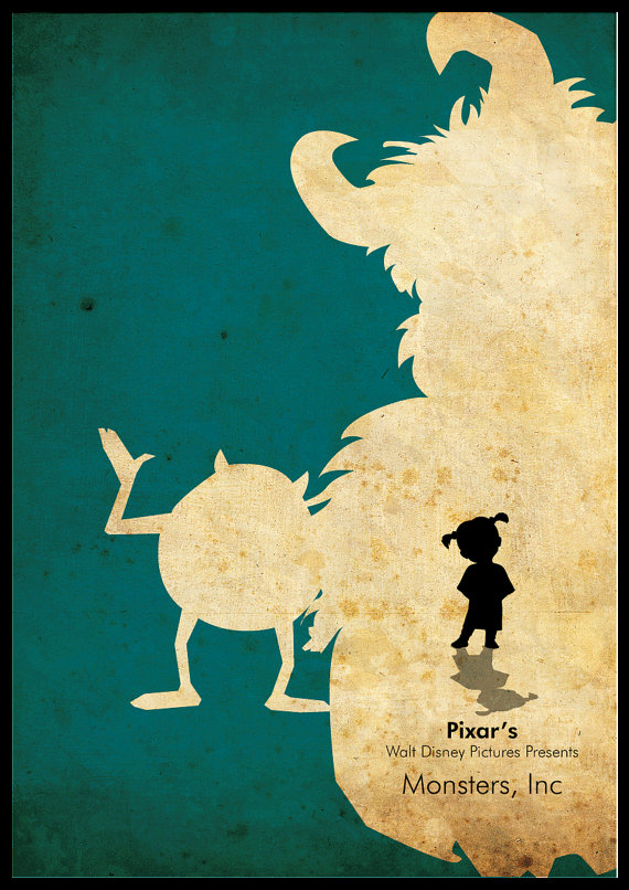 Minimalist Pixar's Disney A3 poster  Monsters Inc by cutejungle, $18.00