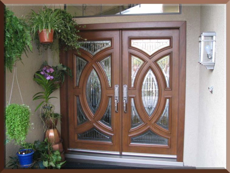Brown Wooden And Fiberglass Double Entry Doors With Glass Combined ...