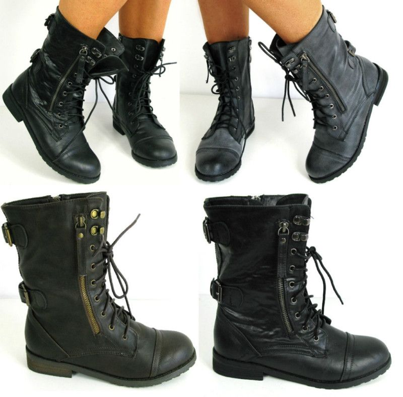 Details about WOMAN FLAT LACE UP ARMY BIKER ANKLE BLACK LADIES ...