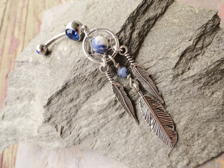 Dream catcher belly piercing  Blue Sodalite Dream Catcher Belly Button Jewelry by MidnightsMojo