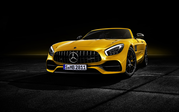 Download Wallpapers Mercedes Amg Gt S Roadster 2019 Front View Exterior Yellow Supercar Tuning Black Wheels Yellow Gt S Roadster Luxury Cabriolet Germa Mobil