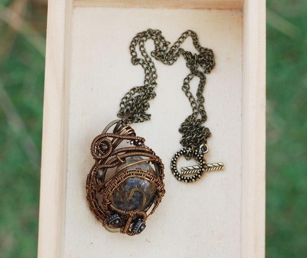 Natural Rough Tibetan Black Ghost Quartz Crystal Pendant Wire Wrap ...
