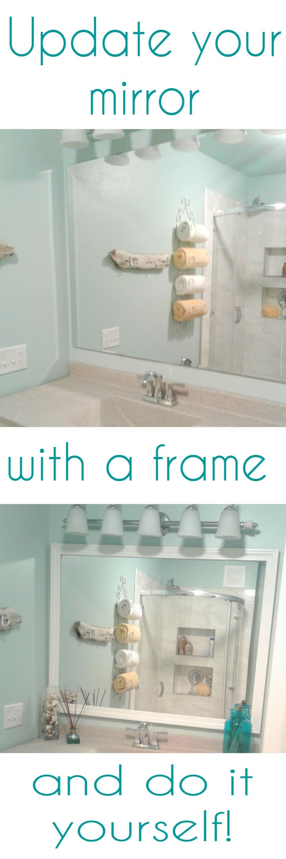 Update your builder grade mirror by adding a frame around it. So ...