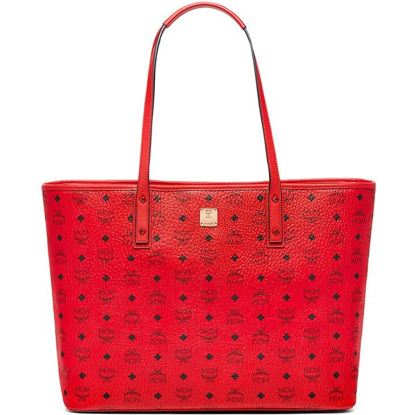 MCM Anya Top Zip Shopper ($760) ❤ liked on Polyvore featuring bags, handbags, tote bags, coated canvas handbags, red handbags, shopper handbag, red purse and mcm shopper