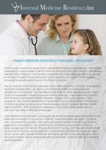 Family Medicine Residency Personal Statement Sample  Internal