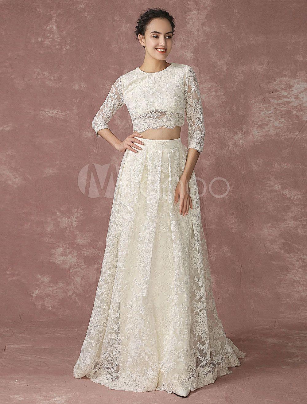 Crop Top Spitze Hochzeitskleid Rückendesign Taschen Brautkleid ...