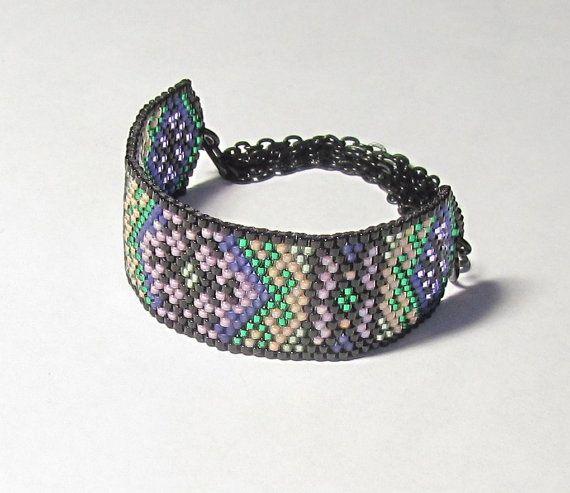 Peyote Rollrand Armband mit Litze schwarz Kette und handgemachte Verschluss