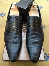 Gucci Para Hombre Zapatos Negro Cuero Mocasines Piel De Serpiente UK 9.5  nos 10.5 EU 43.5 68729bd1e53