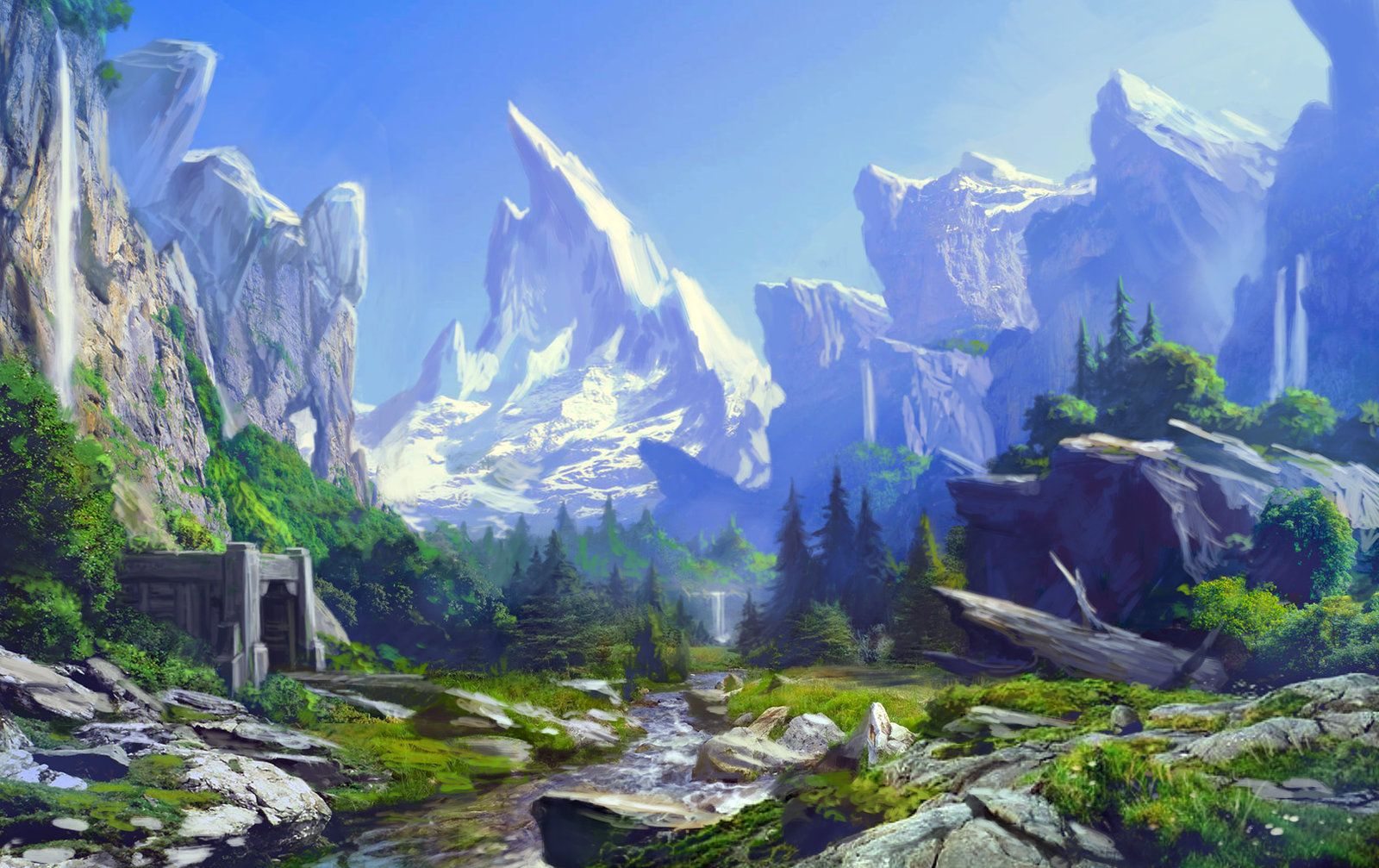 Dwarven Valley High Concept, Chris Dien on ArtStation at https://www.artstation.com/artwork/dwarven-valley-high-concept