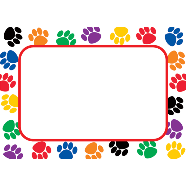 TCR5168 Colorful Paw Prints Name Tags Labels Image