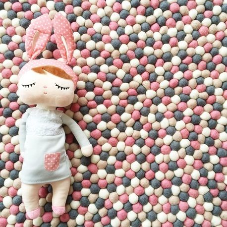 100cm felt ball rug and matching garland - musk mix by Little Puddles