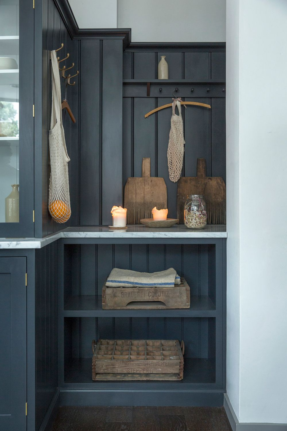 Open shelves and shaker peg rails provide the perfect storage in our ...