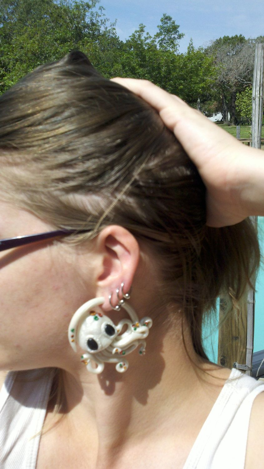 Octopus Earrings For Stretched Ears 6g 4g 2g 0g 00g Design Your Own