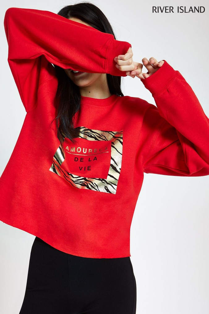 ef5a50df4485 Womens River Island Foil Animal Print Red Sweat Top - Red