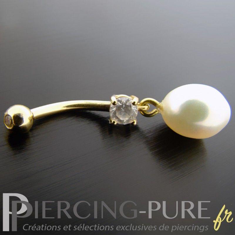 or massif clous d/'oreilles avec naturel perle noire 14K