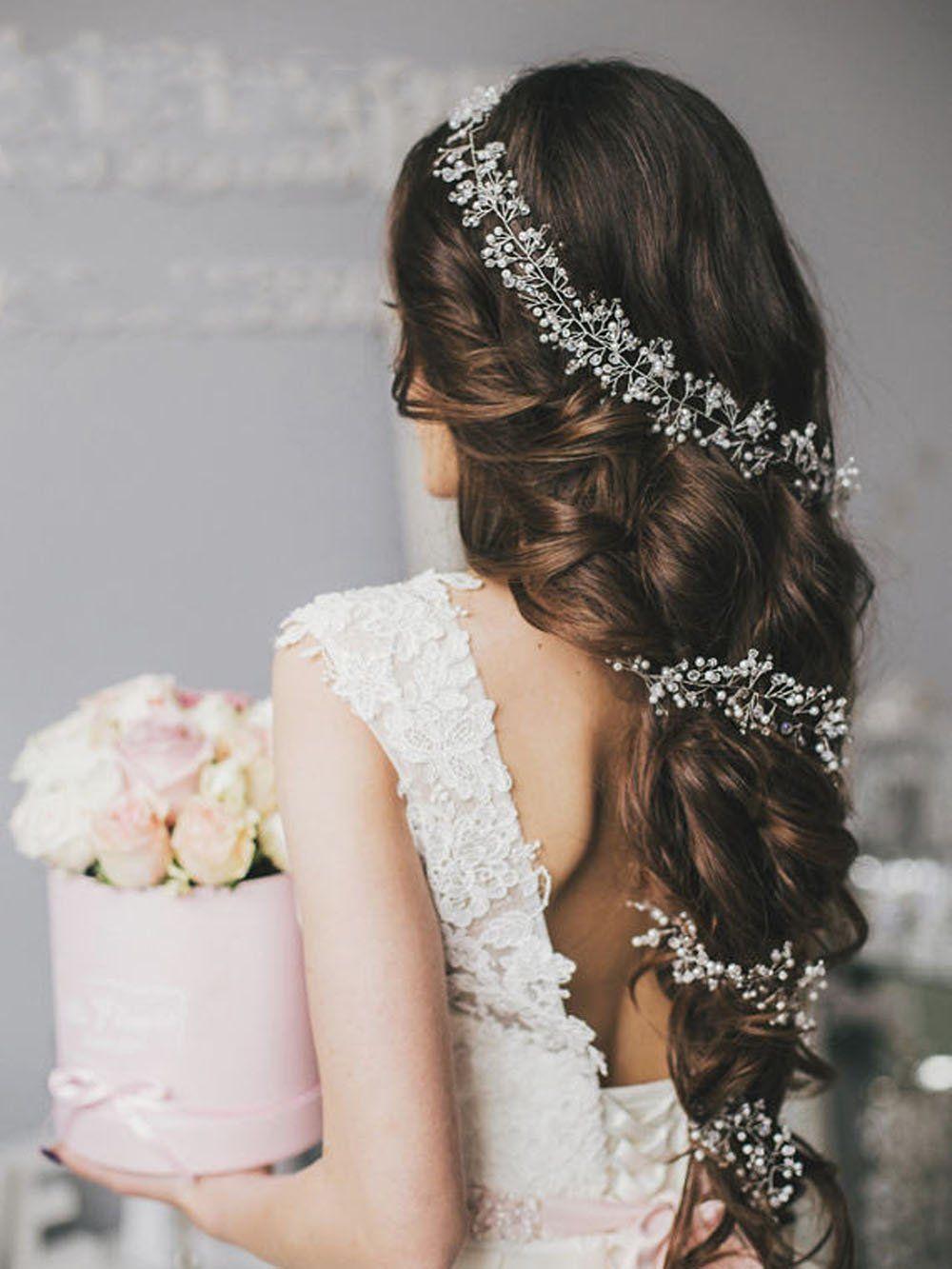unicra wedding bridal headpiece long crystal hair vine