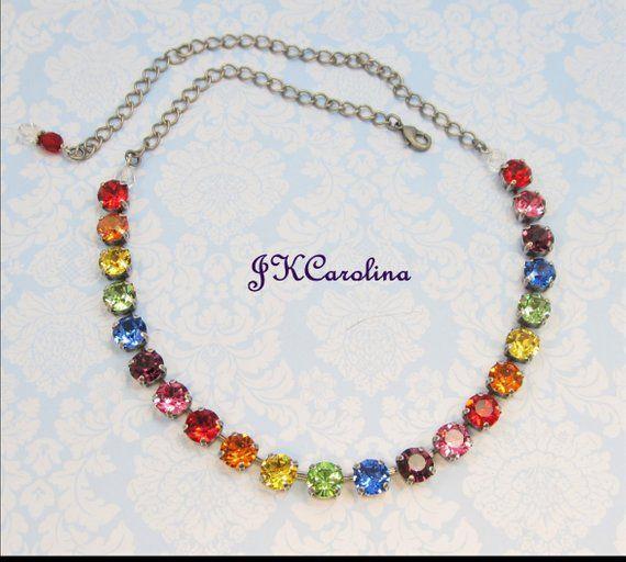 060e0deb65469 Tennis Necklace - Rainbow Swarovski Necklace - Swarovski Choker ...