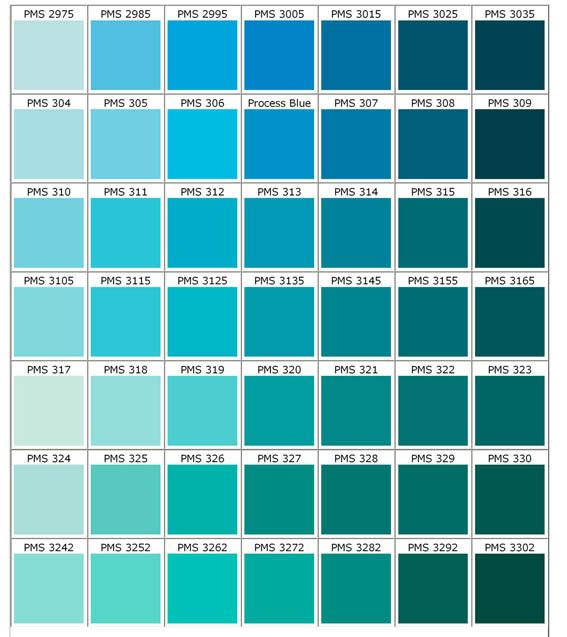 Where can you find a teal green color chart?