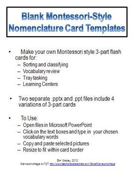 Quick And Easy Blank MontessoriStyle Part Nomenclature Card