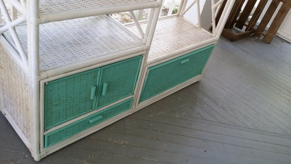 Vintage Rattan Entertainment Center painted with by BabyBAntiques