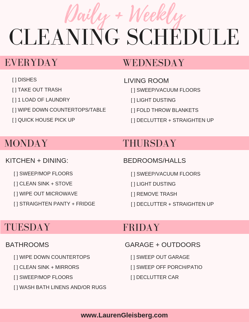 DAILY HOUSE CLEANING SCHEDULE + CHECKLIST