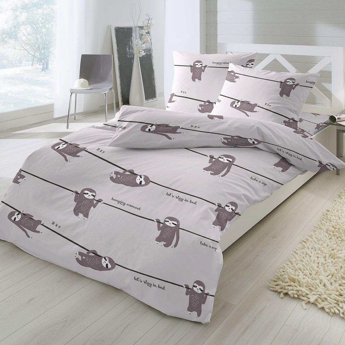 Feinbiber Bettwasche Faultier Aus Besonders Warmer Und Kuschelig