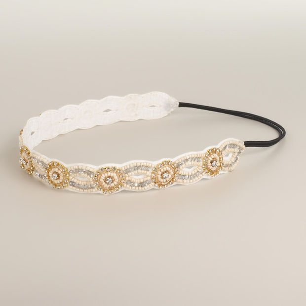 Ivory Rhinestone Suede Headband - World Market
